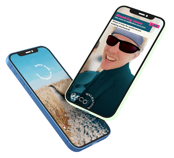 Two smartphones showing full screen images. One with added facebook badge - the other with an added snapchat lens.